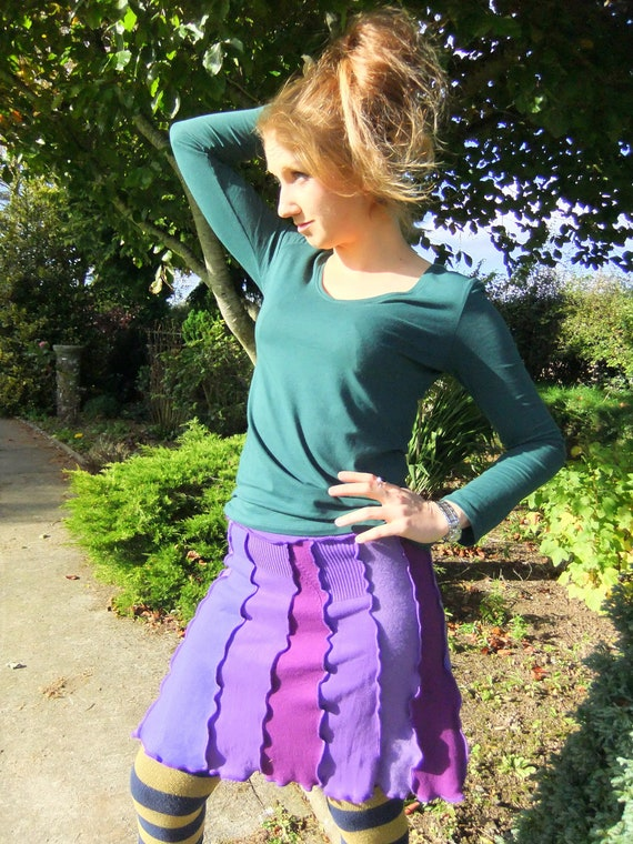 SALE - PuRple cotton skirt - One of a kind - Medium - Ready To Ship