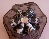 Chocolate Brown & Pale Pink Damask Ruffled Round Ribbon Bow