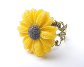 Adjustable Ring Statement ring sunflower jewelry flower ring romantic jewelry sunflower wedding jewelry bridesmaid ring solitaire ring