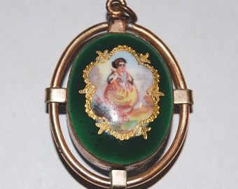 Antique French Enameled Victorian Portrait Pendant