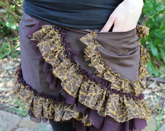 Ruffly  Wrap Skirt leopard, brown and aubergine- Free Size