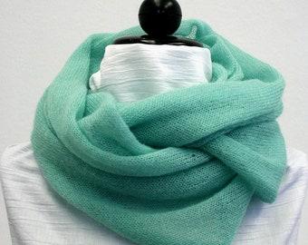 Mint Kid-Mohair Cowl - Fluffy, Soft & Warm
