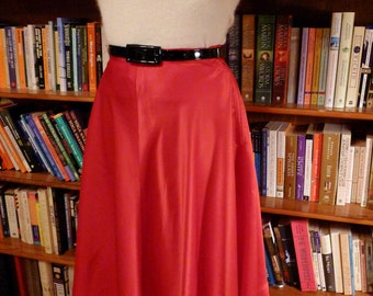RIBBON RED--Sexy 1950s Glowing Red Satin  Circle Skirt--S