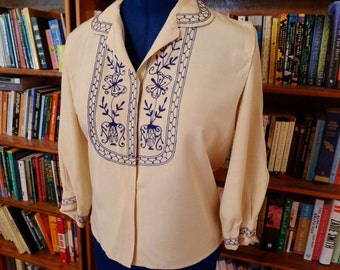 HOUSE OF ELLIOT--Lovely 1910s 1920s Silk Ladies Blouse with Embroidery Embellishments--M