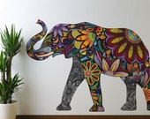 Elephant Graphic Wall Sticker Decal Multicolor and Floral Animal Wall Graphic - Girls Room, Living Room, Kitchen