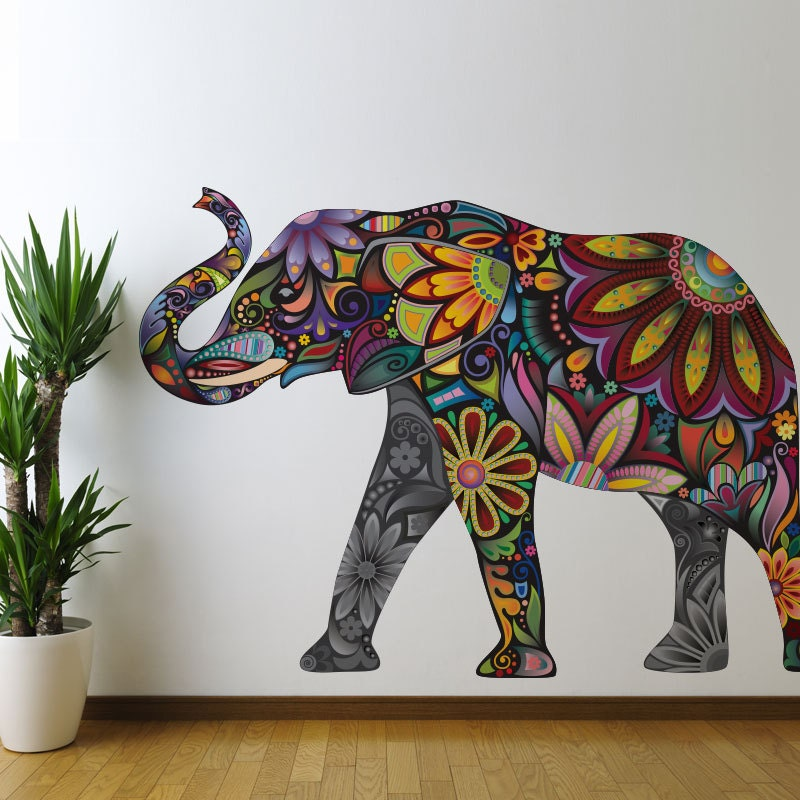 Elephant graphic wall sticker decal colorful by mywallstickers Colorful elephant home decor