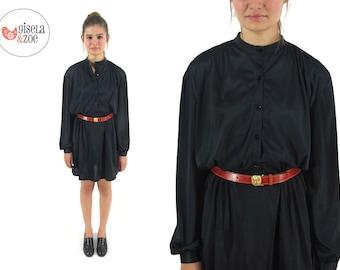 Vintage 70s Dress / Vintage Shirt Dress / Smocked Shoulder Black Dress / md / lg