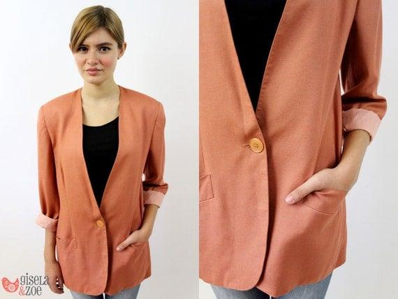 Vintage 80s Over-sized Peach Blazer / Colored Blazer