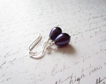 Purple Teardrop Earrings, Purple Drop Earrings, Bridal Party Earrings, Made In Sweden, Swedish Jewelry Design, Scandinavian Jewelry