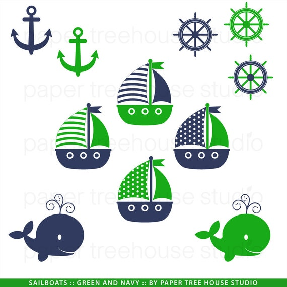 Clip Art Set Sailboats Anchors and Whales Green and Navy