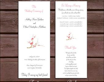100 Cherry Blossoms Wedding Ceremony Programs