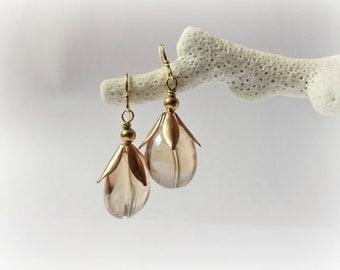 Caléndula - gemstone earrings light yellow quartz drops Golden Brass petals leaves honey Floral jewelryGift for her