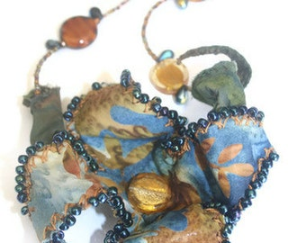 Fabric Flower Necklace Hand Beaded ooak Statement Necklace Blue Brown Batik