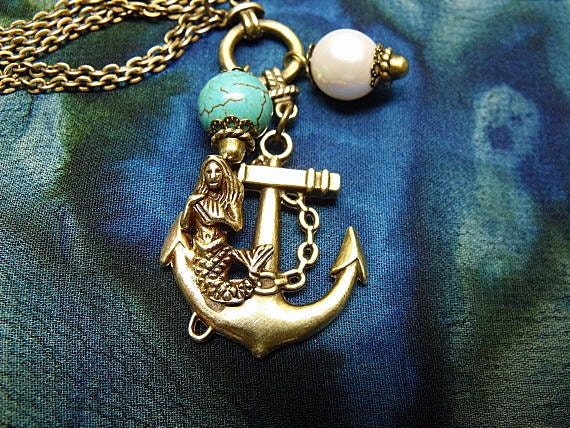 Goldtone Pendant Necklace,  Nautical Mermaid  Sitting On Anchor Pendant With Turquoise Bead And Pearl  Womens Gift  Handmade