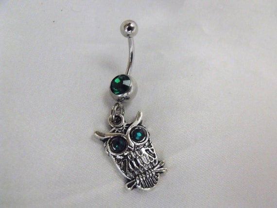 belly button navel ring owl emerald green by agothshop
