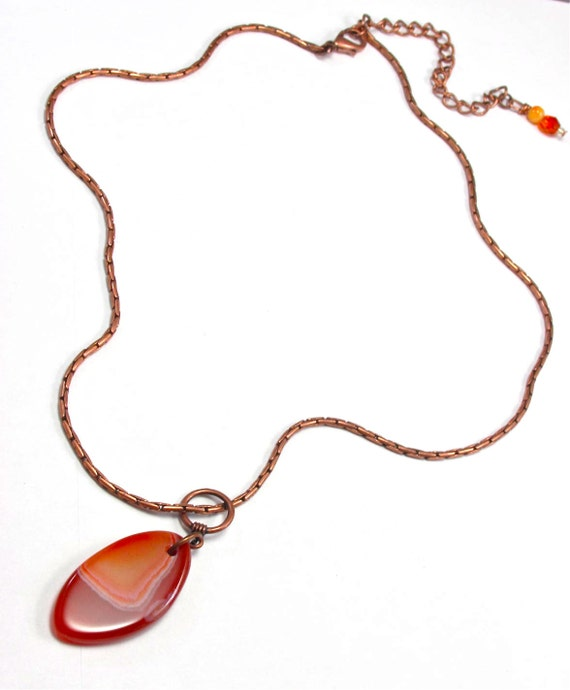 Agate and Copper Necklace - Geode Slice Pendant - Red - Orange - Rust - Agate Jewelry - Boho - Earth - Geology - Copper and Rust Accessory