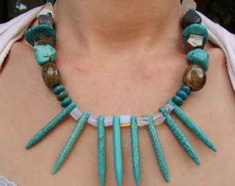 Primitive tribal turquoise spike crystal necklace infused with healing Reiki energy