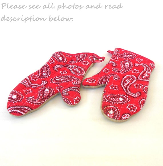 Oven Mitts Red Kitchen Bandana Western BBQ Grill Vintage