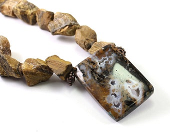 Raw stone necklace, natural rough tiger's eye necklace, druzy petrified wood, brown rough gemstone necklace, rough stone chunky necklace