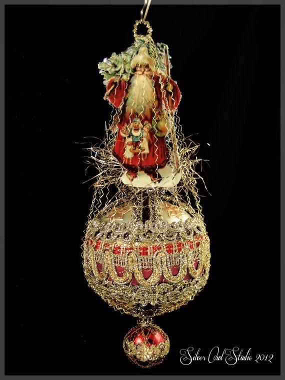 Victorian santa ornament christmas ornaments