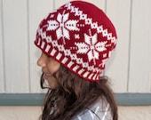 Crochet Pattern-- All Ages Frozen Snowflakes Beanie --Crochet Pattern