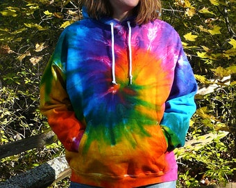 2X 3X Tie Dye Hooded Sweatshirt, Rainbow Spiral Design, Plus Size Pullover Hoodie,  Eco-friendly
