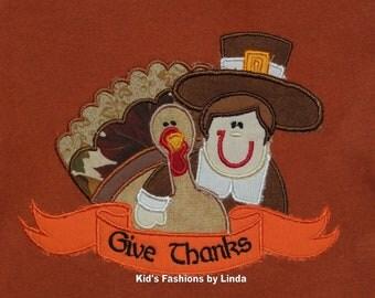 Personalized Texas Orange Short Sleeve T-Shirt with Turkey/Pilgrim