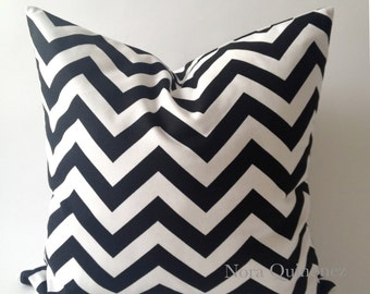 SET OF TWO 20x20 Chevron Print Decorative Pillow Cover - Black and White - Medium Weight Cotton- Invisible Zipper Closure- Cushion Cover