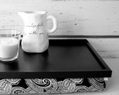 Laptop Lap Desk or Breakfast serving Tray - L size - Black and White Paisley print - Custom Order