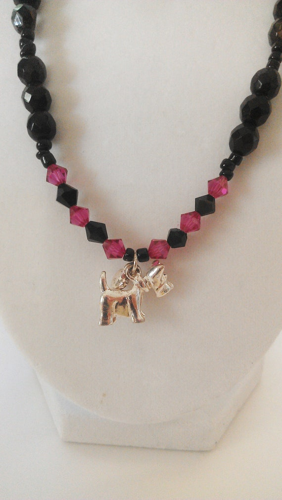 Black and Pink/Purple Crystal Bead Necklace With Scottie Dog and Silver Heart