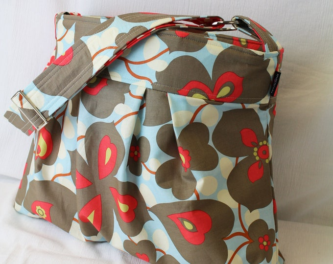 Emma Large Diaper bag - Morning Glory and Wallflower Cherry - READY to SHIP