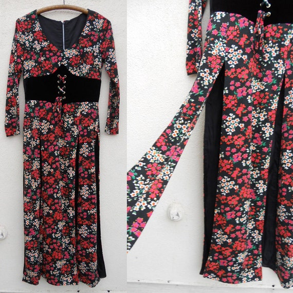 Vintage 60s CORSETED Floral Maxi/Mini Dress