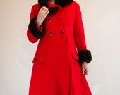 Gorgeous Vintage Red and Black Princess Coat