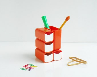 Vintage Plastic Orange Pencil Holders