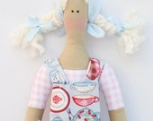 Lovely fabric doll cloth doll, art doll - blonde in blue pink clothing,stuffed doll- Mommy's little helper- gift  for girls and mom