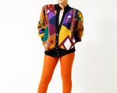 Bad Ass Vintage 90s Abstract Novelty Sweater Jacket - Multicolored Fuzzy Coat