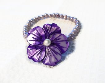 Pearl Bracelet Mother of Pearl Flower Mothers Day Gift Purple White Green Jewelry