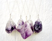 Raw Amethyst Necklace - February Birthstone - Sterling Silver Jewelry - Modern - Purple - Gemstone Jewellery