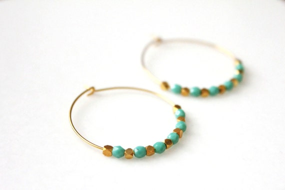 Turquoise & Gold Moroccan Hoops
