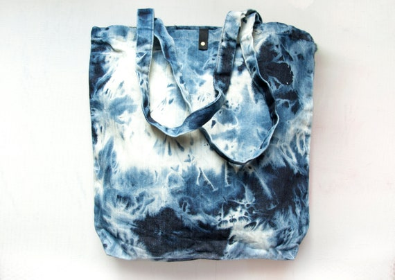 Ready To Ship.. D E N I M BLEACHED HAND DYED Cotton Tote Bag. Tie Dyed Market Tote.