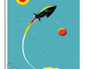 Rocket Ship in Outer Space Kids Art Print of Sun Stars and Planets  - 8x10
