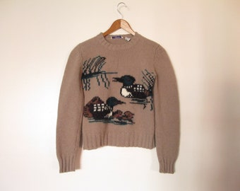 common loon mallard duck sweater bird sweater animal sweater XS beige long sleeve 100% wool sweater shetland wool