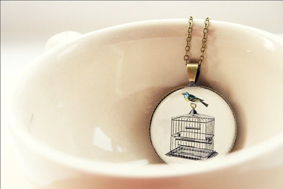 Someday i'll Fly (bird cage illustration necklace)