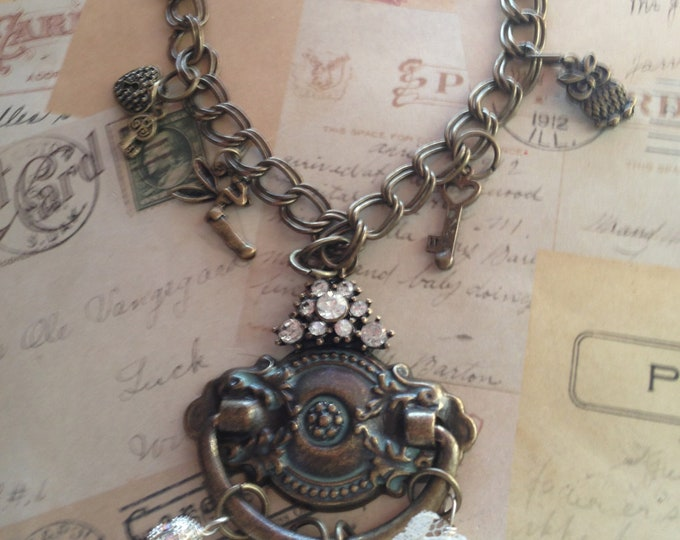 Jewelry, Necklace, Antique Jewelry, Vintage Jewelry, Steampunk Necklace, Victorian Necklace, Charm Necklace