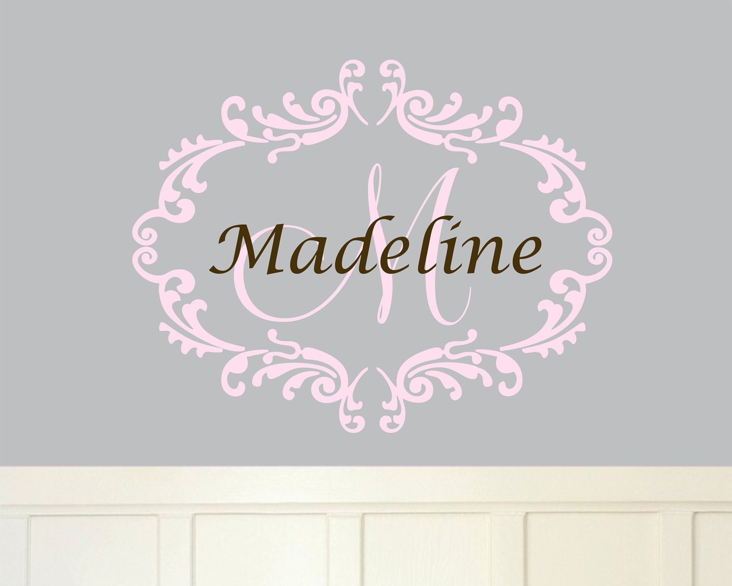 Baby girl monogram wall decal name nursery damask vinyl zoom amipublicfo Choice Image