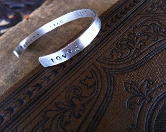 Sterling Silver I Am Loved - Secret Message Quote Bracelet - Personalized Affirmation