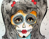 Classic Beauty Sugar Skull Inspired Watercolor Painting