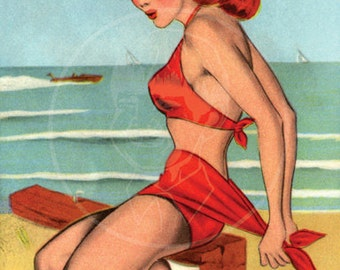 Can You Tie This - 10x16 Giclée Canvas Print of Vintage Pinup Postcard