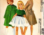 vintage 1961 girls DRESS coat helen lee mccalls sewing pattern SIZE 10 full skirt PETTICOAT retro party sash