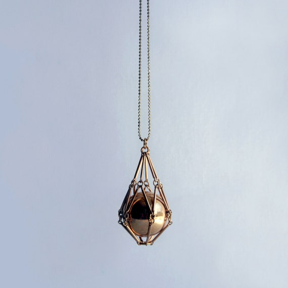 FOR LACEY ONLY - Gold geometric necklace - Caged ball necklace - Modern statement necklace with brass bars